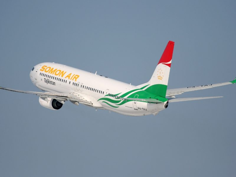 A Boeing 737-900ER from Tajikistan's airline Somon Air.