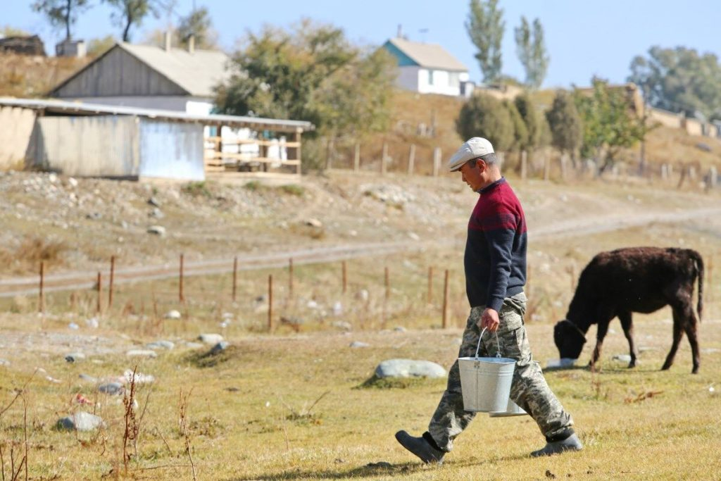 A man carries two buckets of water. Behind him, a crow is grazing.