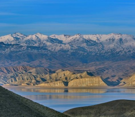 View of the mountains and the Naryn River