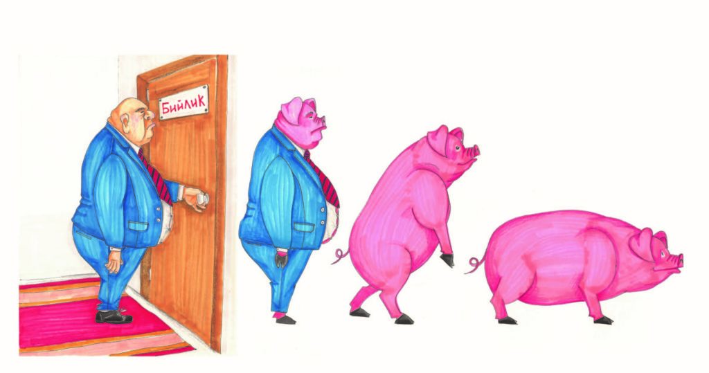 """A human walking through a door and progressively turning into a pig. A sign on the door says """"Power"""" in Kyrgyz."""