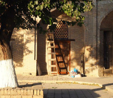 Bibi-Khanym Mosque Samarkand shadows sunlight