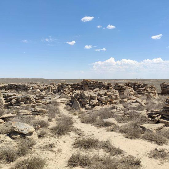 Uzbekistan cemetery tombes kazakh stones Ustyurt