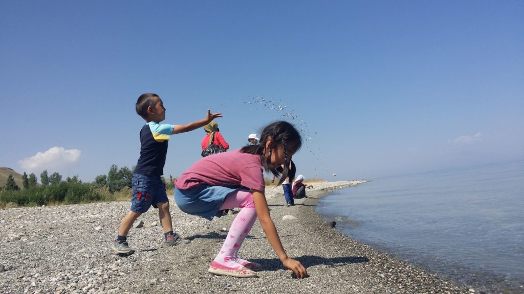 Children play on the shores of Lake Van.