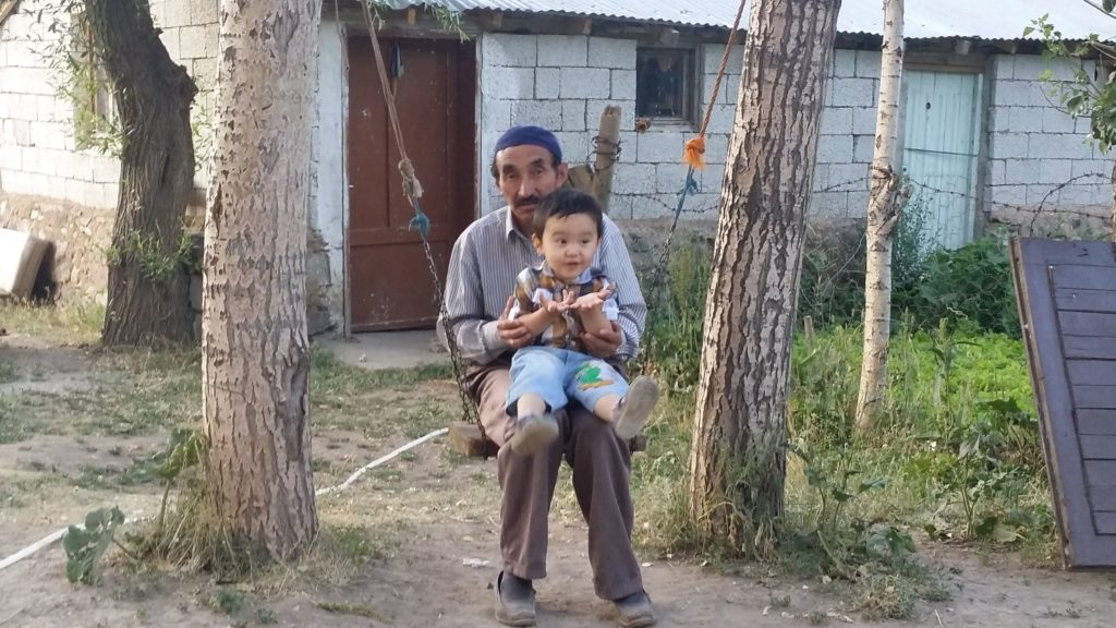 A Van Kyrgyz man and child sit on a swing.