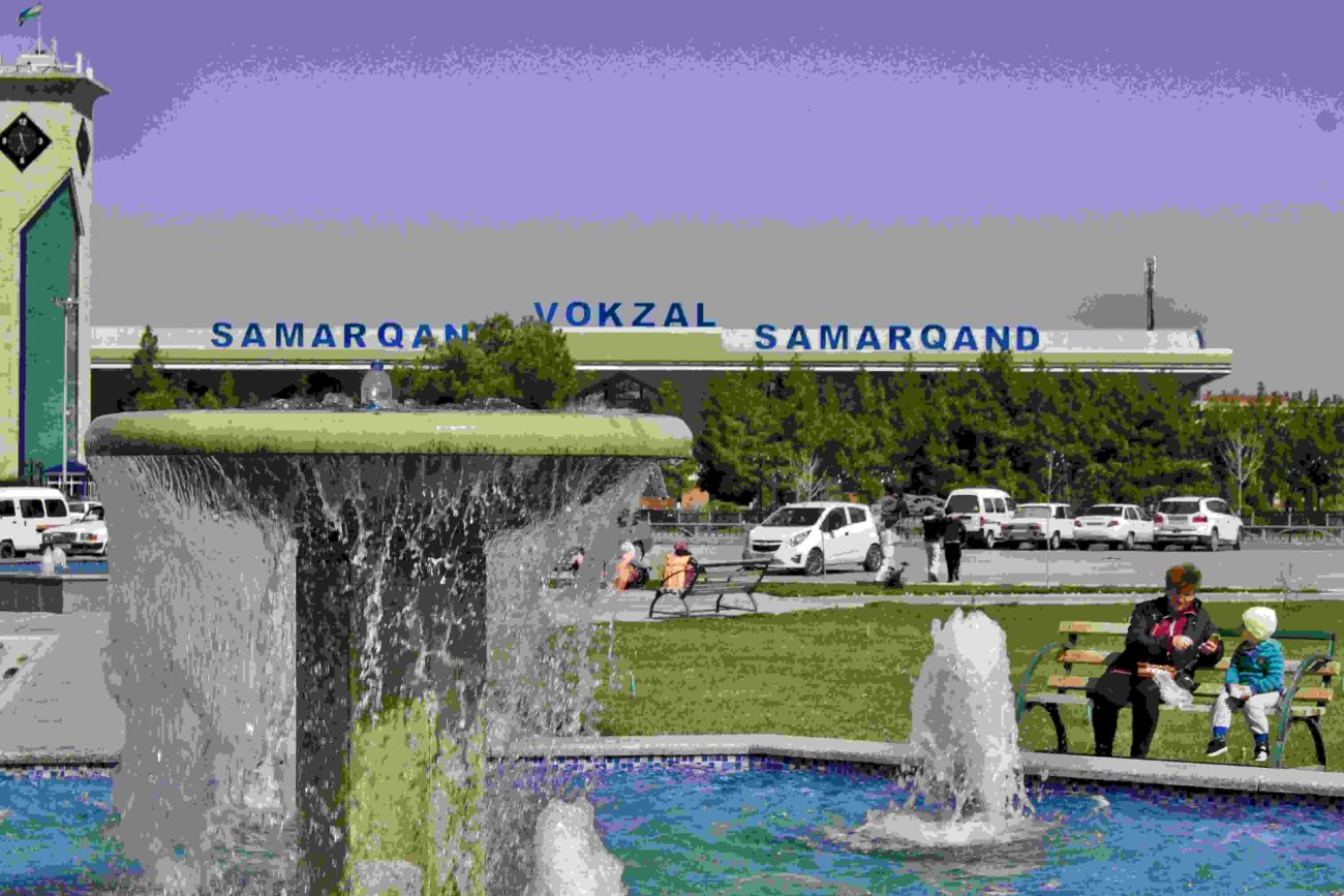 Samarkand Uzbekistan central station fountain reconstructed actual architectonic style