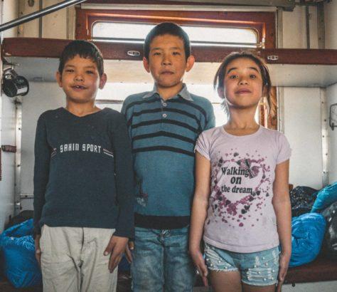Standing tall kazakhstan children family train