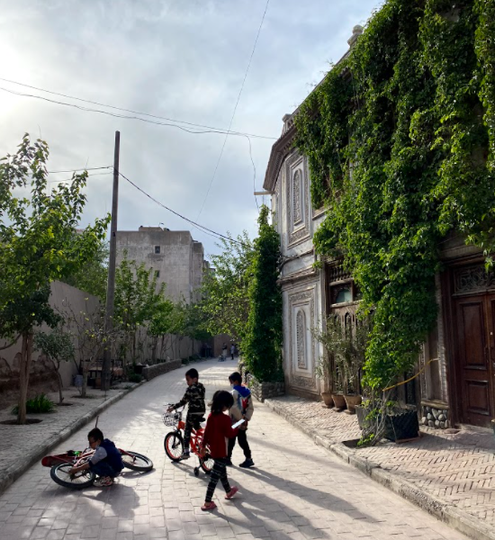 Kids playing old streets Kashgar Uyghur region western China