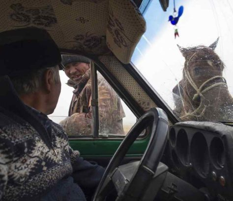 Chat road discussion driver rider Kyrgyzstan.