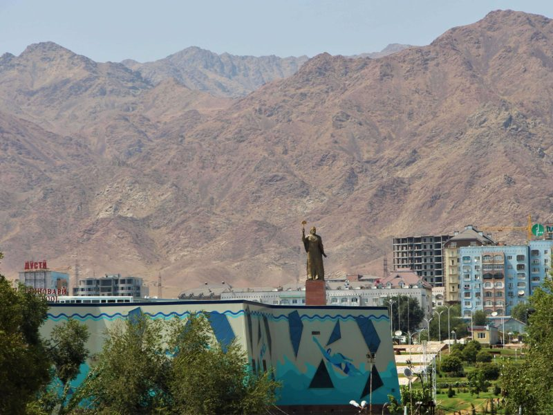Tajikistan, Khudjand, Mountains, Statue, Ismail Somoni