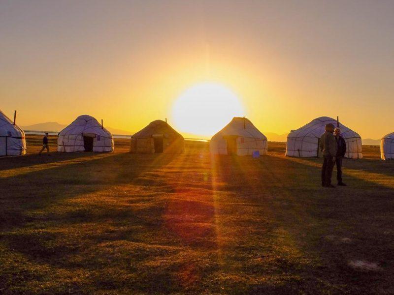 At sunset kyrgyzstan yurt camp