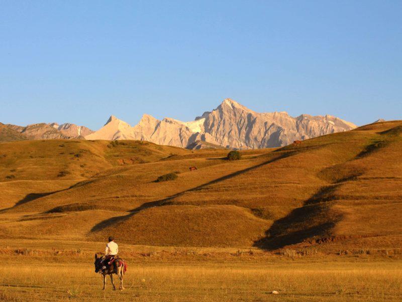 Kazakhstan, Shymkent, Boy, Horse, Mountain, Sunset