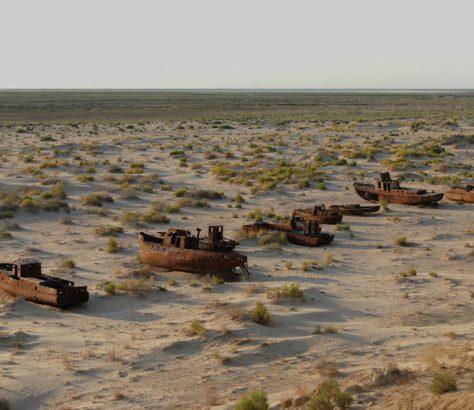 Boats, Uzbekistan, Moynaq, Aral sea, Aralkum