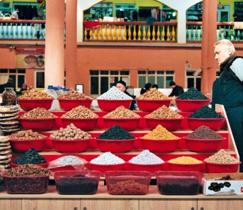 Dried fruit at the market tajikistan khujand