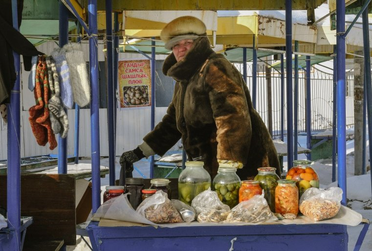 Stepnogorsk Kazakhstan Cornichons Laine Chaussette Commerce