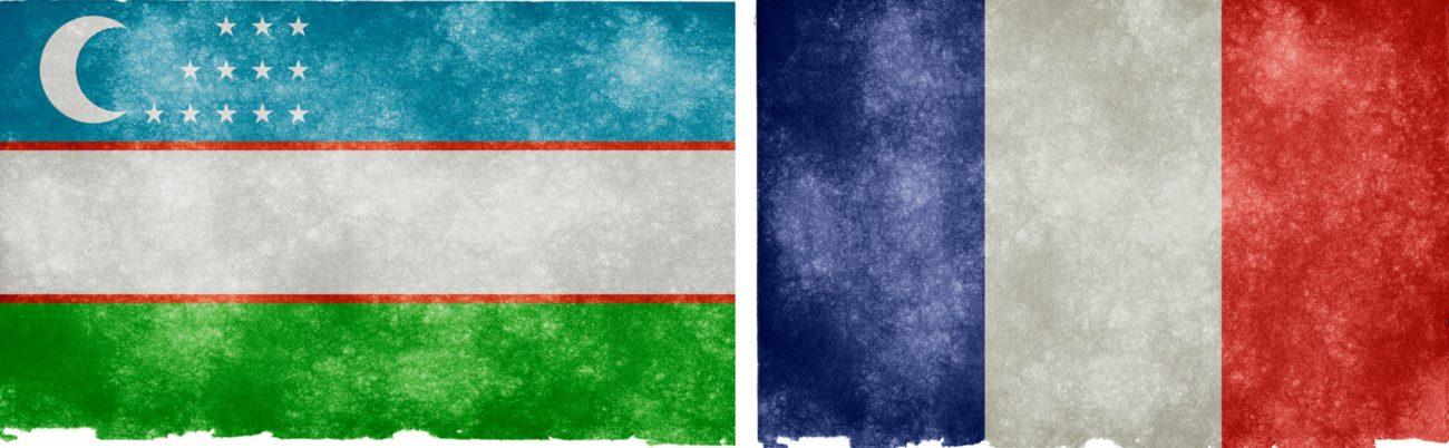 Ouzbékistan France Drapeaux Collage Rencontre Emmanuel Macron Chavkat Mirzioïev