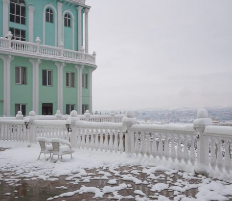 Douchanbé Tadjikistan Balcon Vue Hiver