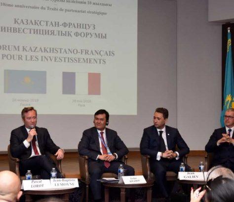 Le secrétaire d'Etat aux affaires étrangères français, Jean-Baptiste Lemoyne lors du forum d'investissement Kazakhstan-France