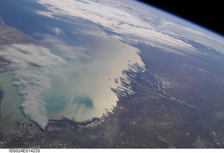 Nasa ISS Caspienne mer espace Kazakhstan Turkménistan Iran
