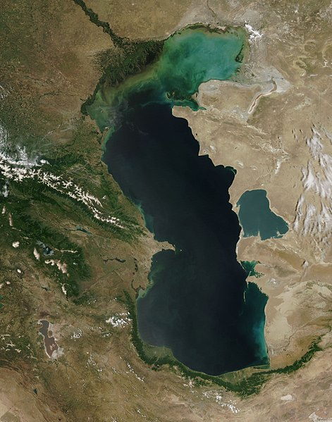 satellite mer caspienne littoral vue lac