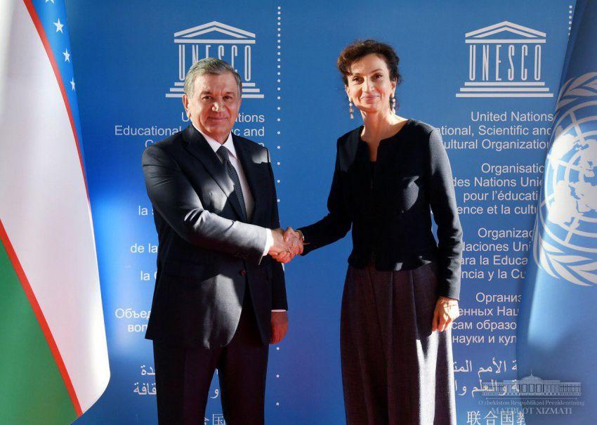 Chavkat Mirzioïev Audrey Azoulay Visite France UNESCO