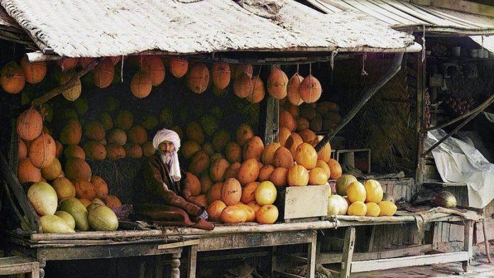 Asie centrale XXème siècle 1910 Voyage Serguei Prokoudine-Gorski Empire russe Photographie Vendeur Ouzbékistan Melon