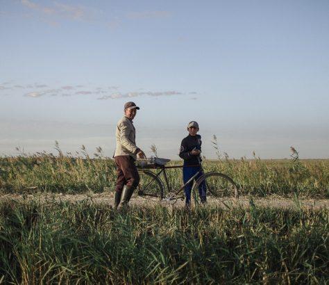 Un vieil homme et son petit-fils a velo au le long d'une route, au Kazakhstan.