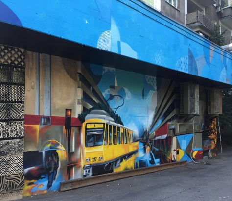 Almaty Kazakhstan Art de rue Tramway nostalgie