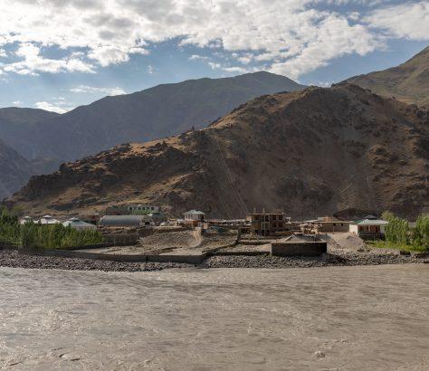 Vue Afghanistan Tadjikistan Piandj Rivière Frontière Naturelle