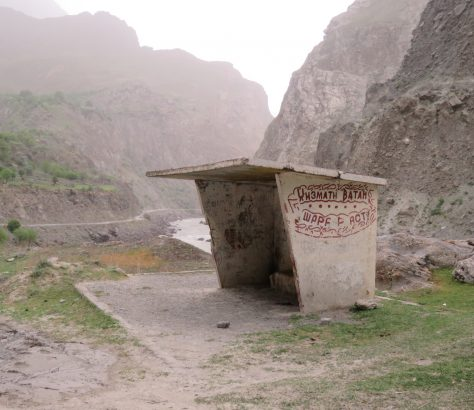 Arrêt de bus Pandj Tadjikistan ARchitecture soviétique
