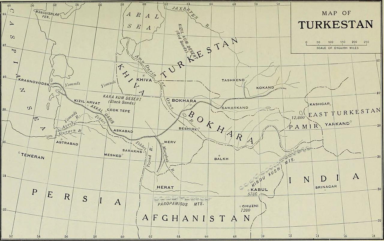 Carte Turkestan Transcaspian Railway Achgabat