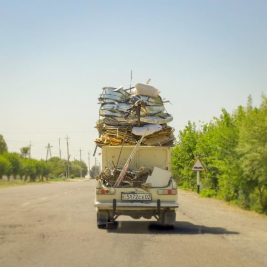 Tadjikistan Voiture Route Bagages