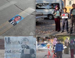 Manifestation et affiches anti-macron et caricatures du prophète au Kirghizstan