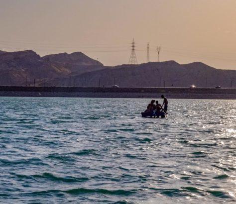 Tadjikistan Kaïrakkoum Lac Pédalo Coucher de soleil