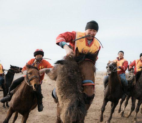 Kirghizistan kok bord jeu équestre