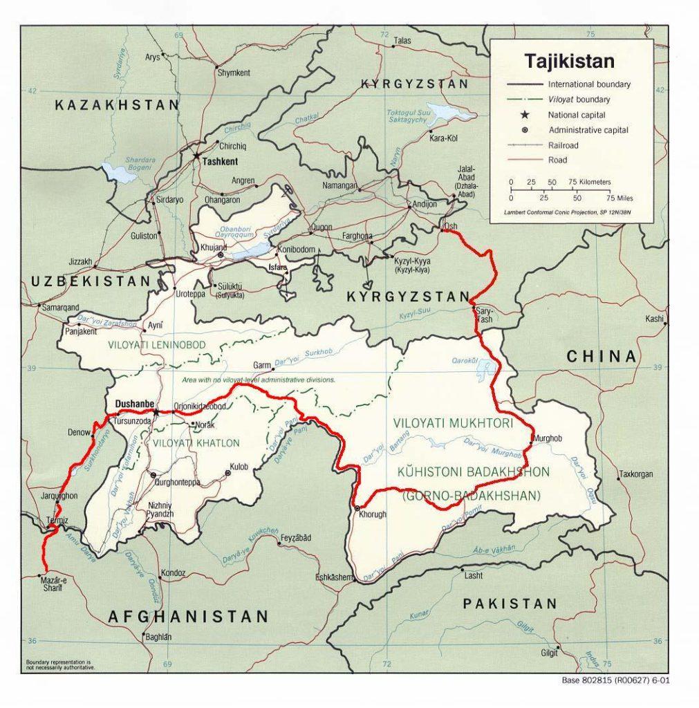 Pamir Highway Tadjikistan Tracé