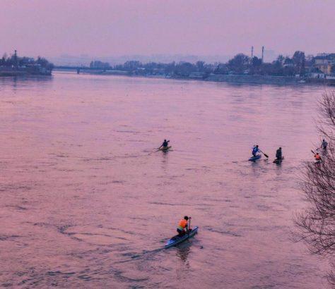 tadjikistan khoudjand kayak hiver coucher de soleil