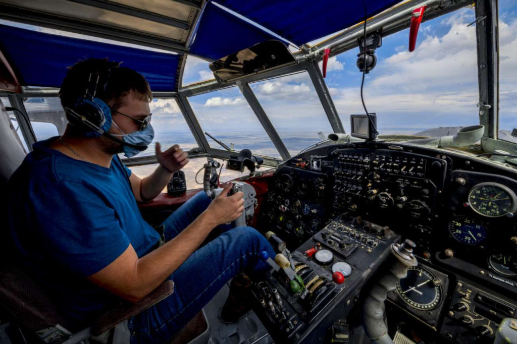 Kazakhstan Environnement Lac Bartogaï Avion de patrouille
