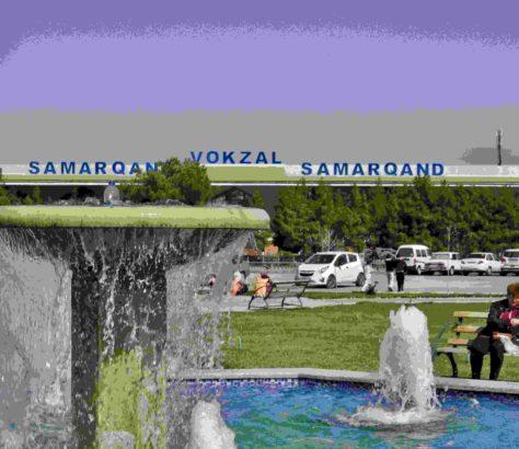 Samarcande Ouzbékistan gare centrale fontaine reconstruction style architecture