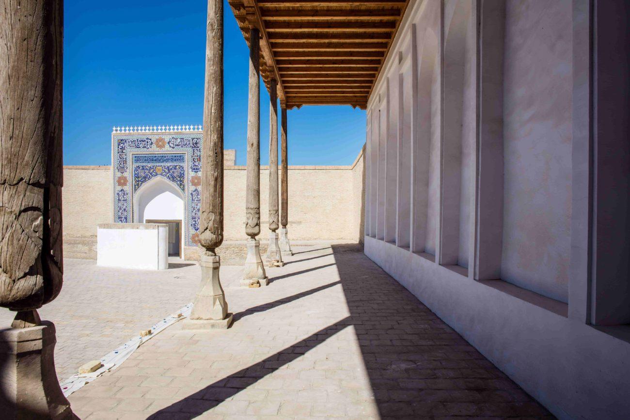 Ouzbékistan Colonnes Khiva Perspectives Mosaïque