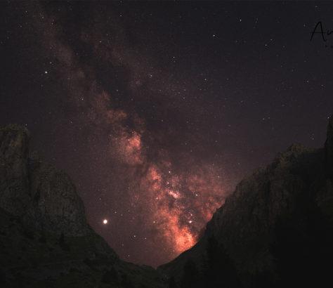 Chimboulak Kazakhstan nuages voie lactée étoile Jupiter