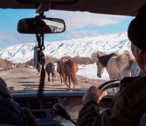 Photo du jour Antoiné Béguier Kirghizstan Route Trafic Montagne