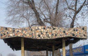 Kazakhstan Almaty Arrêt de bus Dormach Mosaïque de céramique Avenue Souïounbaï Marché Tourksib
