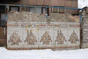 Kazakhstan Almaty Arrêt de bus Centre commercial Elaman Mosaïque de céramique Quartier Taousamal Kounaïev