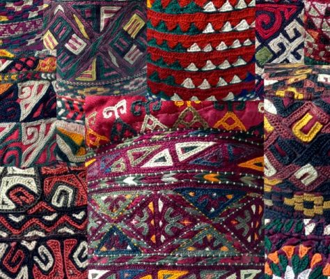 Turkmen takhia traditional hat
