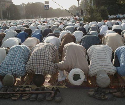 Muslim prayer in Kyrgyzstan
